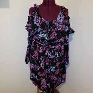 New Lane Bryant Cold-Shoulder Ruffle Midi Dress